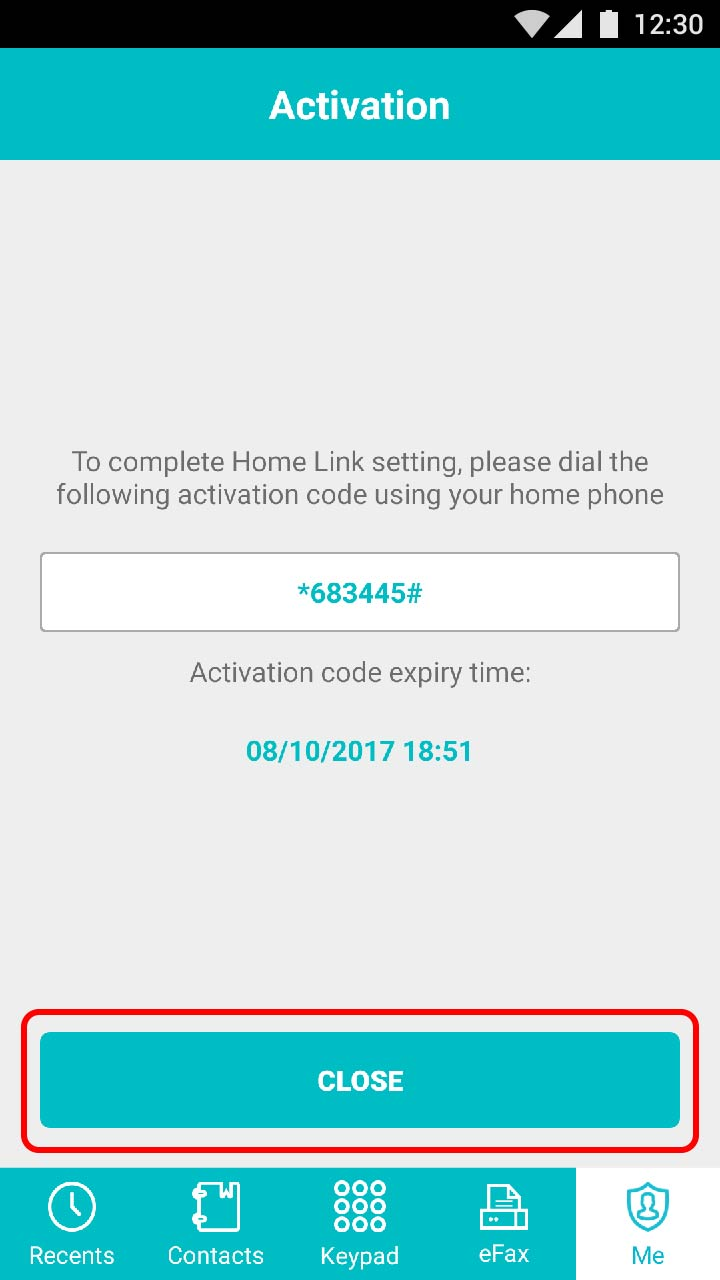 Receive the activation code via the app and enter it using your homephone. An audio message will confirm activation.